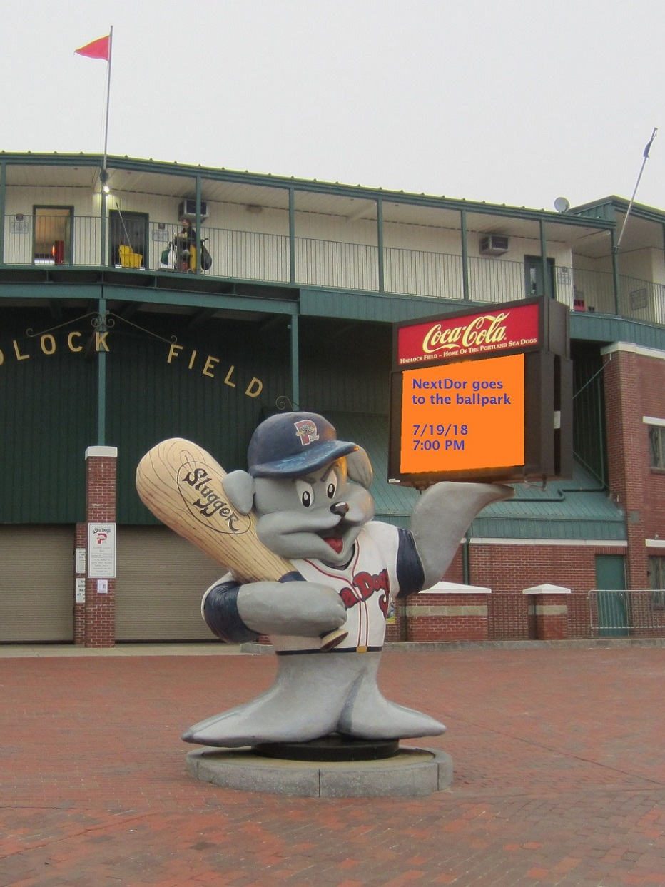 Slugger in front of Hadlock Field