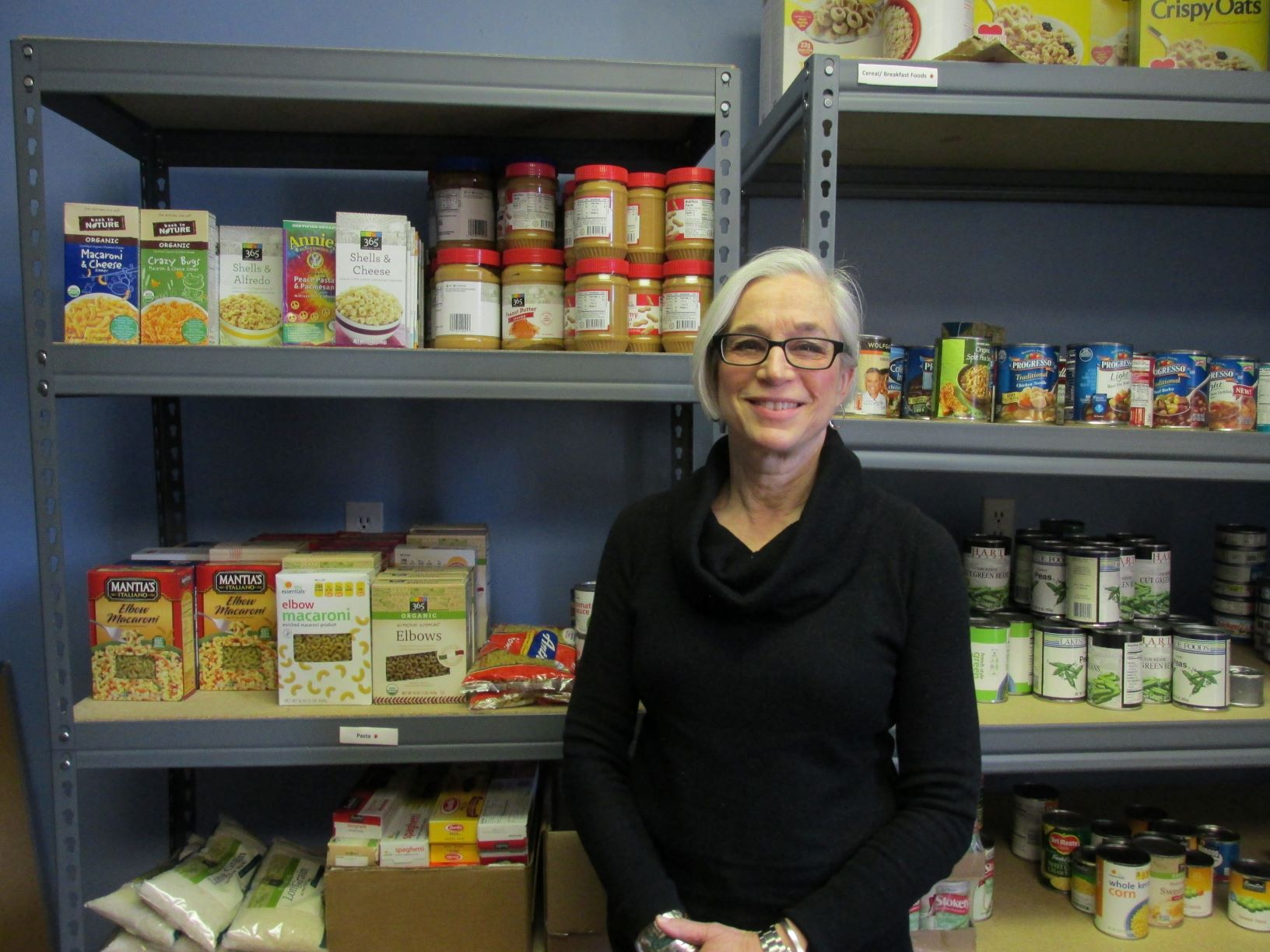 Amazing Volunteer Carlyn Gilbert at the Food Pantry