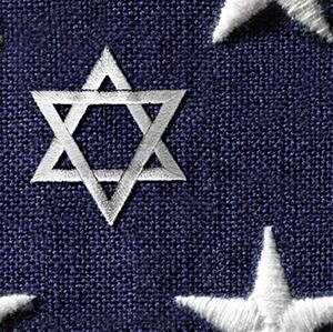 American Jewish History Star of David Flag Square