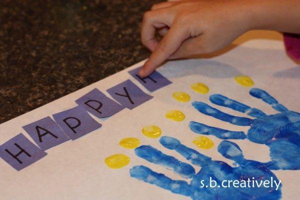 Chanukah Menorah Finger Painting
