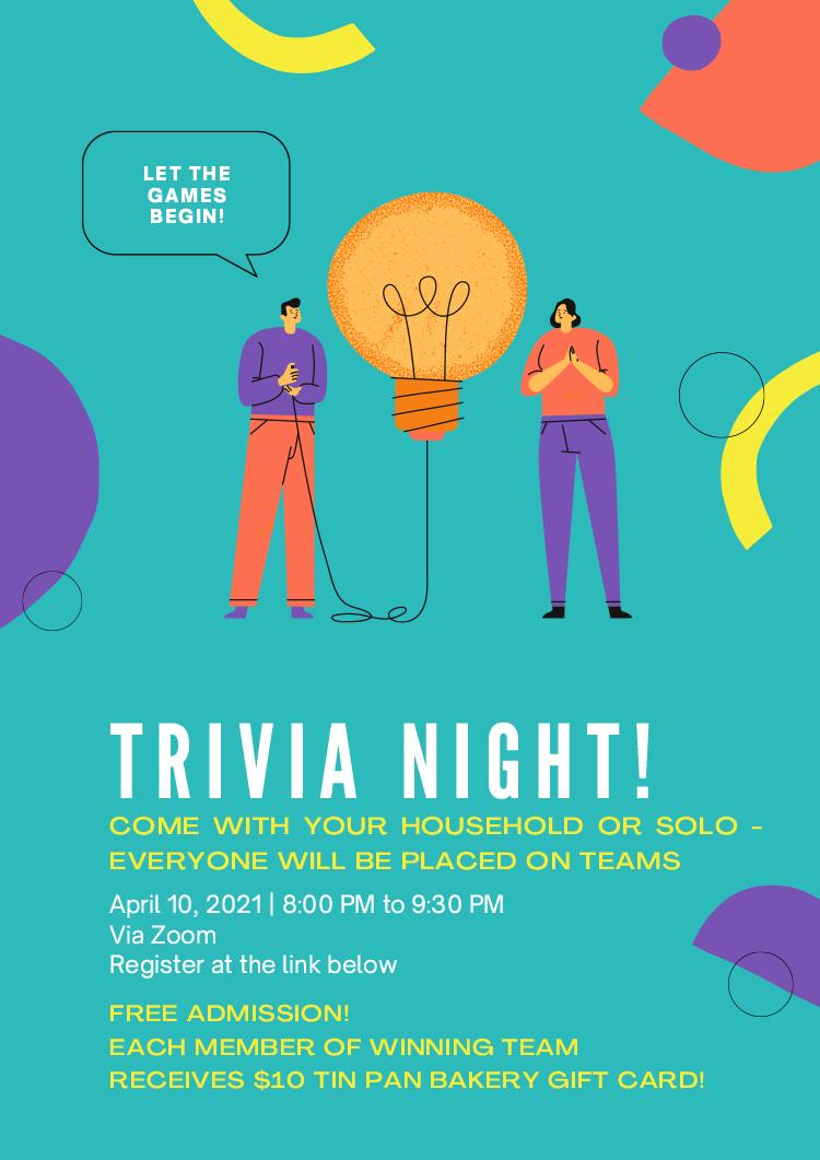 Teal Illustrative Trivia Event Flyer